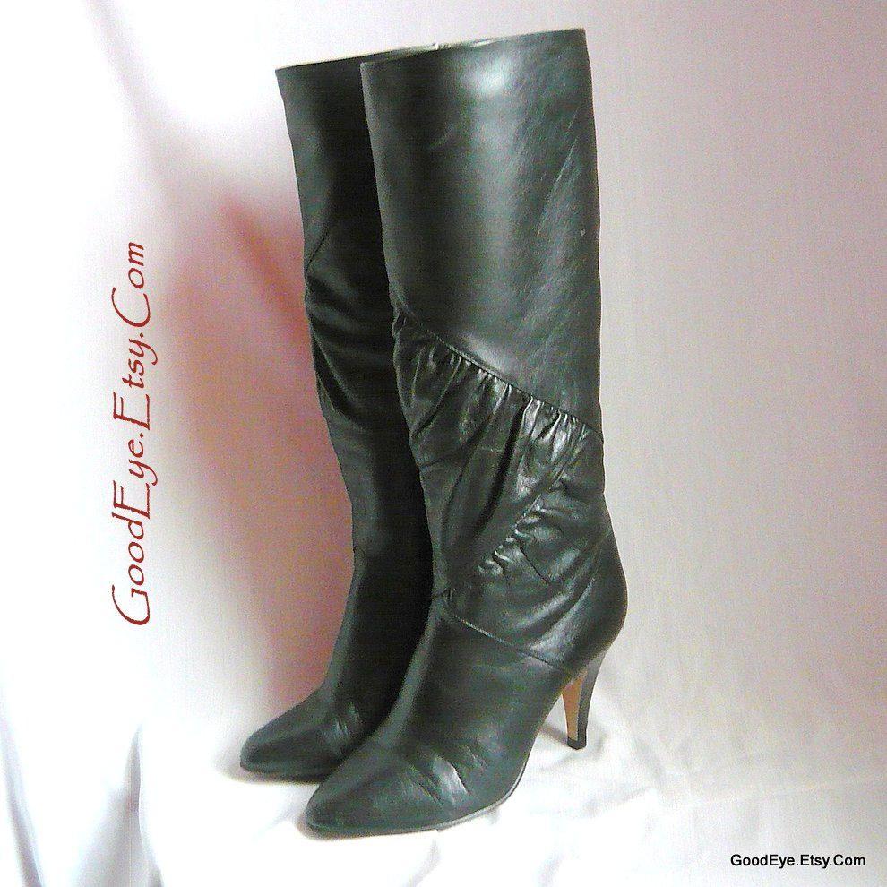 43356db2ef2 Size 5 .5 m High Heel SLOUCH Boots / sz Eu 35 .5 UK 3 / Black ...