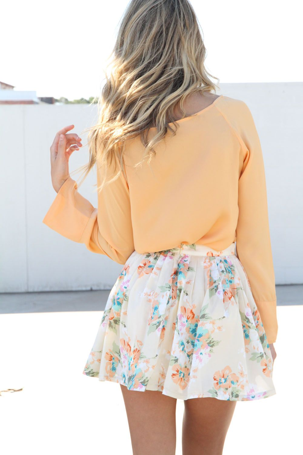 Floral skirt and peachy top my style pinterest peach colors