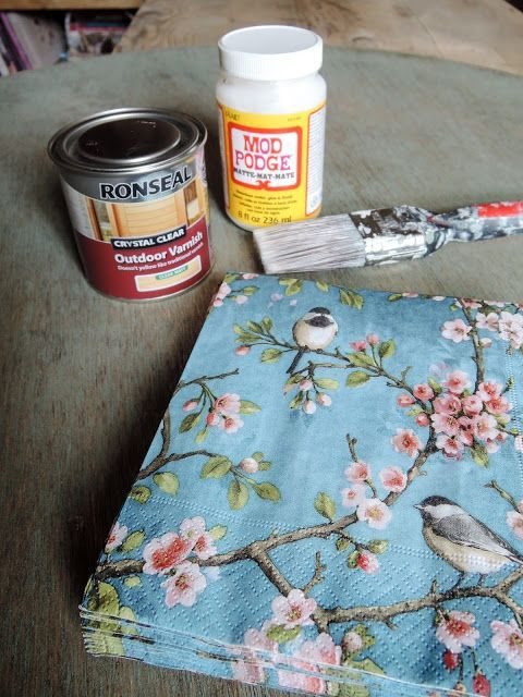 How to achieve a floral / faded affect on wood - using napkins ...
