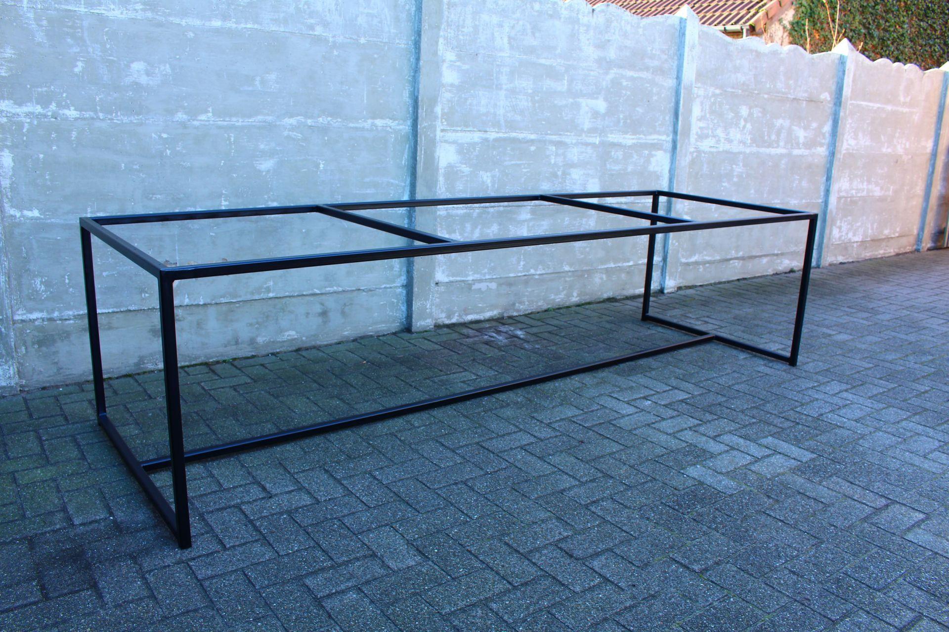 Ijzeren Onderstel Tafel : Tafel met ijzeren onderstel salontafels metalen frame travertin