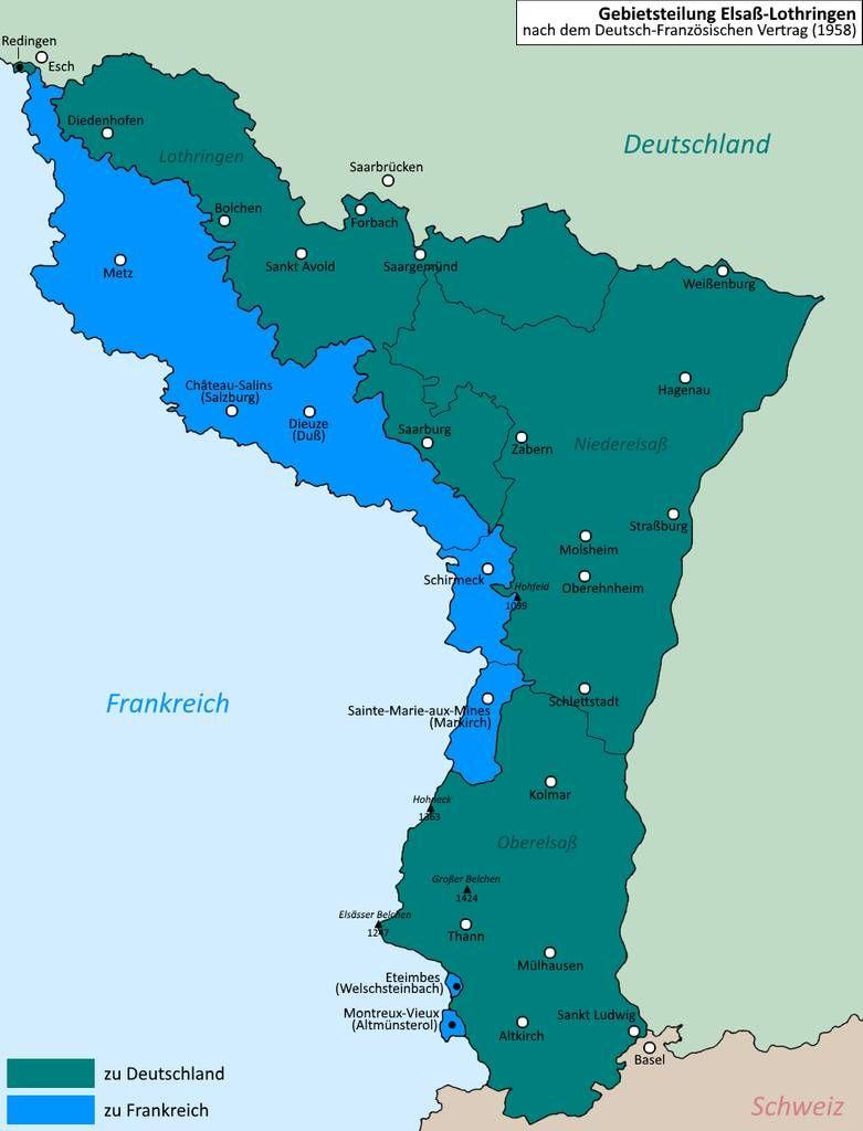 Elsass Karte Frankreich.Division Of Alsace Lorraine Elsass Lothringen By Altmaps