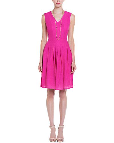 Anne Klein Hot Pink Pique Textured Dress