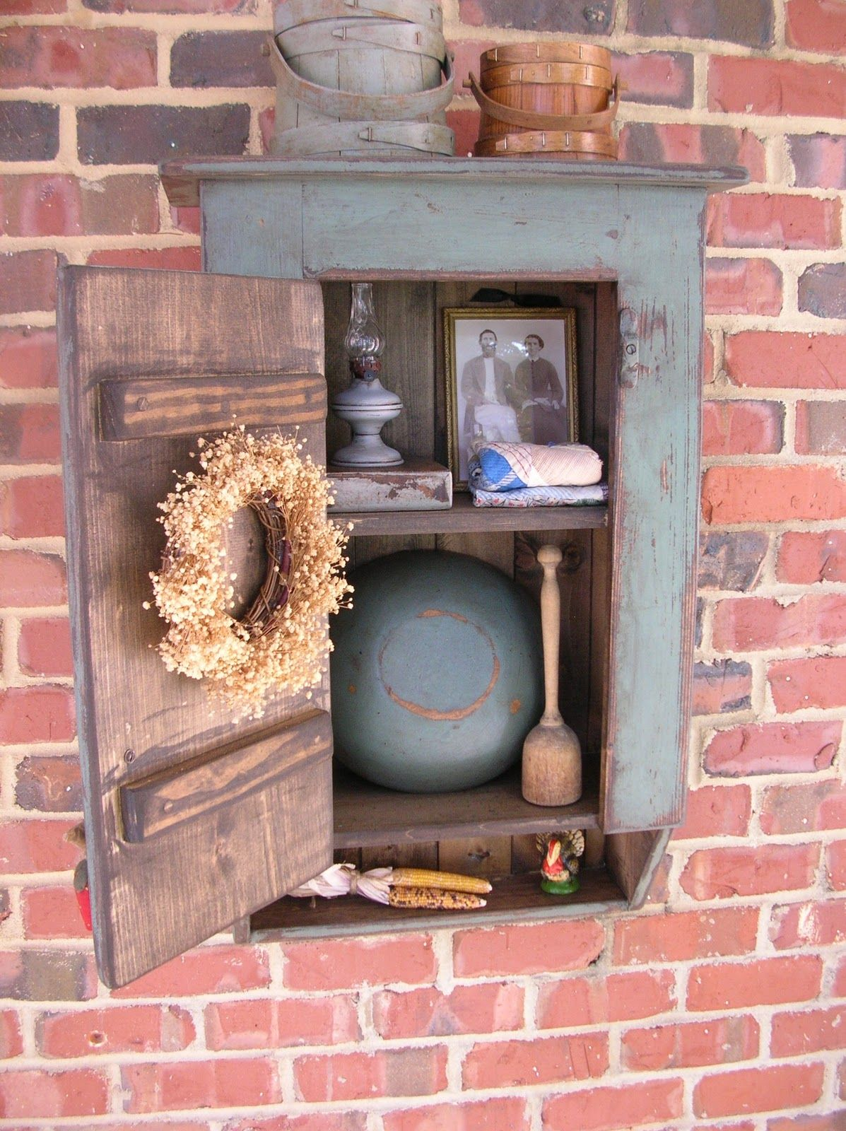 Primitive Wall Cabinets Primitive Wall Cupboard Love The Wreath Primitive Decor