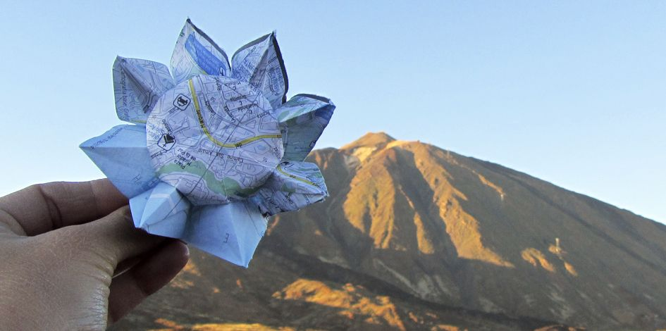 Sunflower in the Teide. @lauralosilla #sunflower_project #girasol #sunflower #origami #Teide #Tenerife