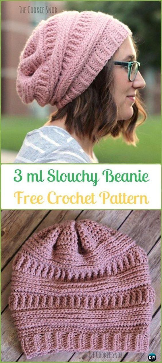 Crochet 3 ml Slouchy Beanie Hat Free Patterns -Crochet Slouchy ...
