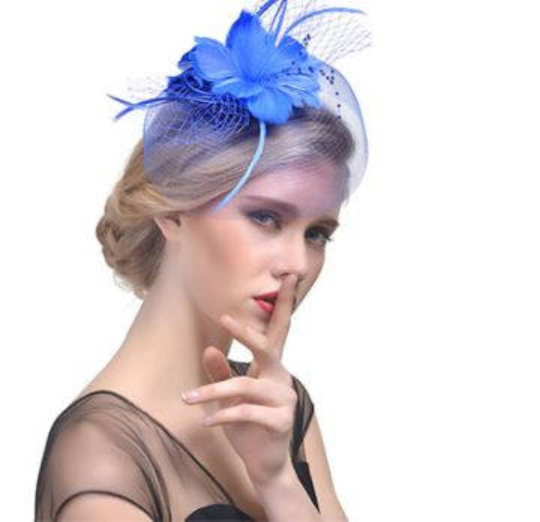 beak clip a... Black hessian flower fascinator with petals and feather tendrils