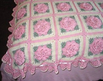 Pink Roses Afghan Blanket Throw  Made fresh after sale  20 | Etsy