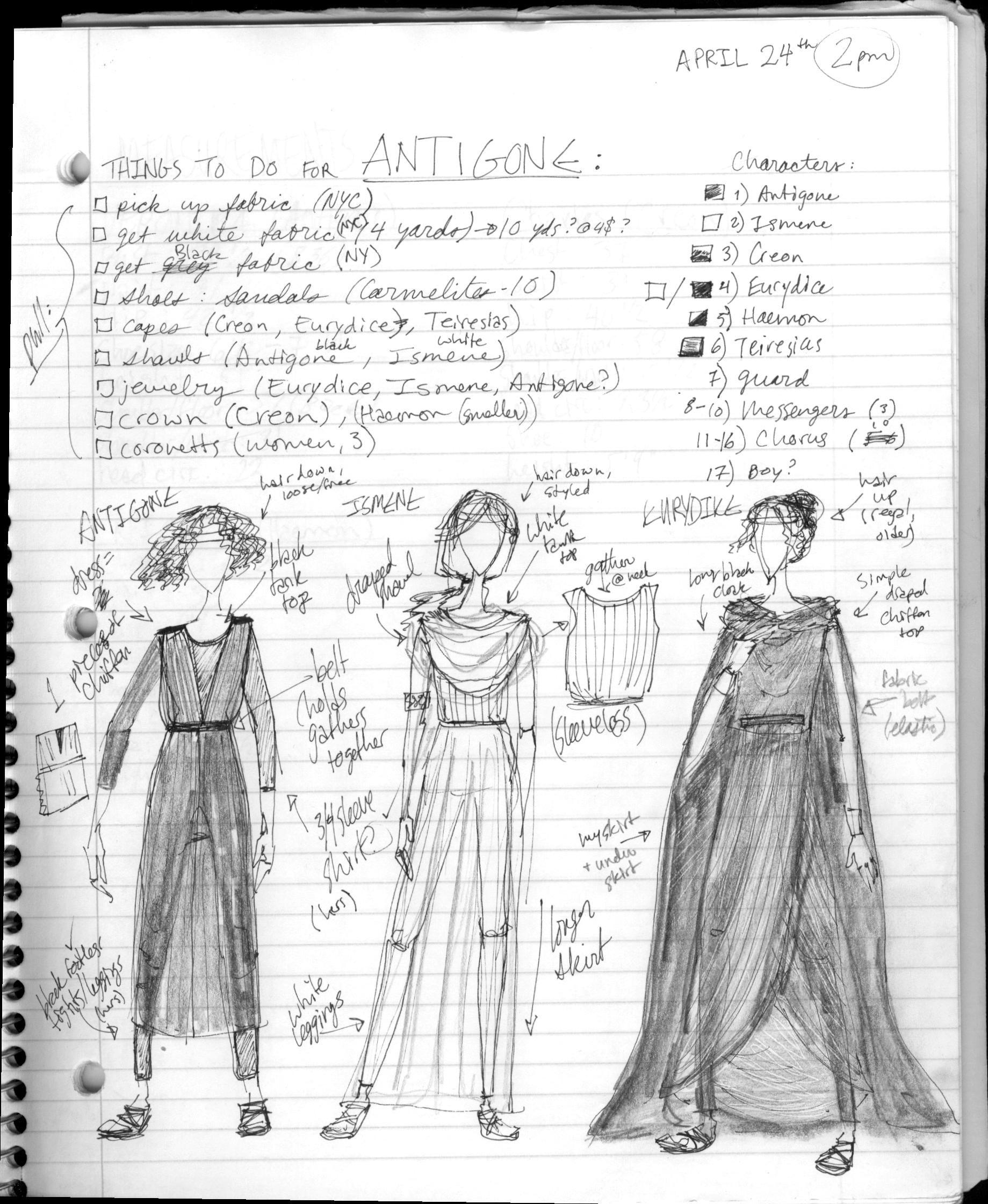 "My Sketches/notes For ""Antigone"" Costume Design"