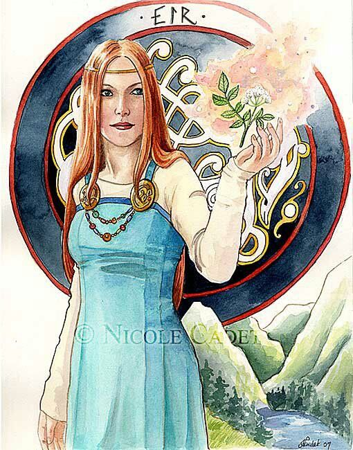 This is a drawing of Eir, Norse goddess of healing and spirit of medicine, but I find the apron dress interesting - to have it this fitted you would most likely need some kind of lacing in the back in order to loosen it enough to get in but I do like the end result