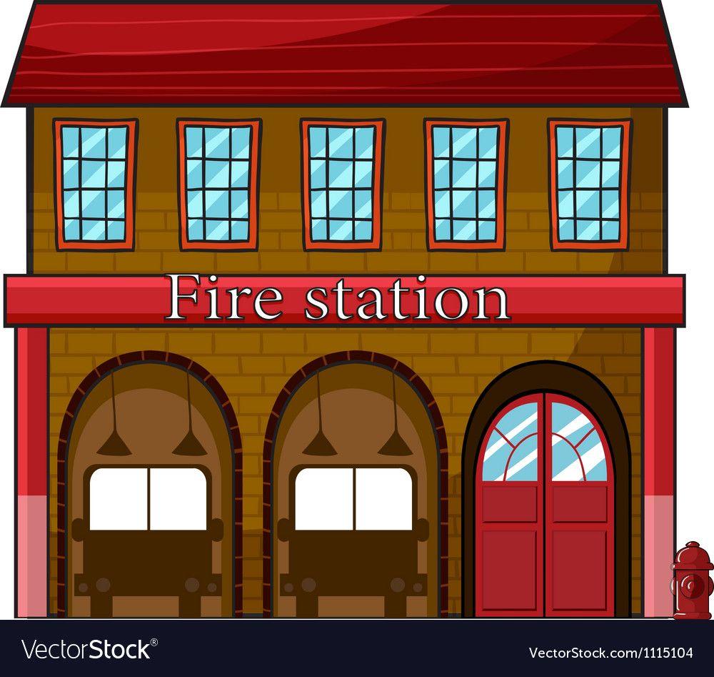 A Fire Station Vector Image On Vectorstock Fire Station Building Illustration Station Printable