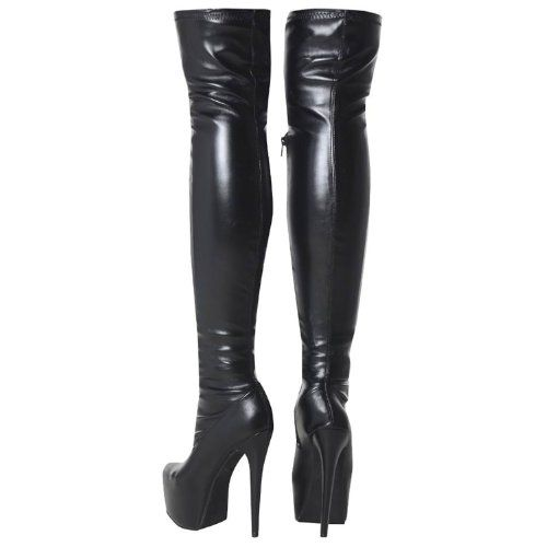 Fashion Thirsty Womens Mens Unisex Over Knee Thigh High Heel Stretch Faux Leather Suede Boots Shoes Size