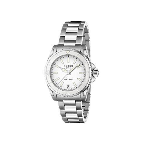 a0b142af4d6 Gucci Women s YA136402 Dive Analog Display Swiss Quartz Silver Watch ...