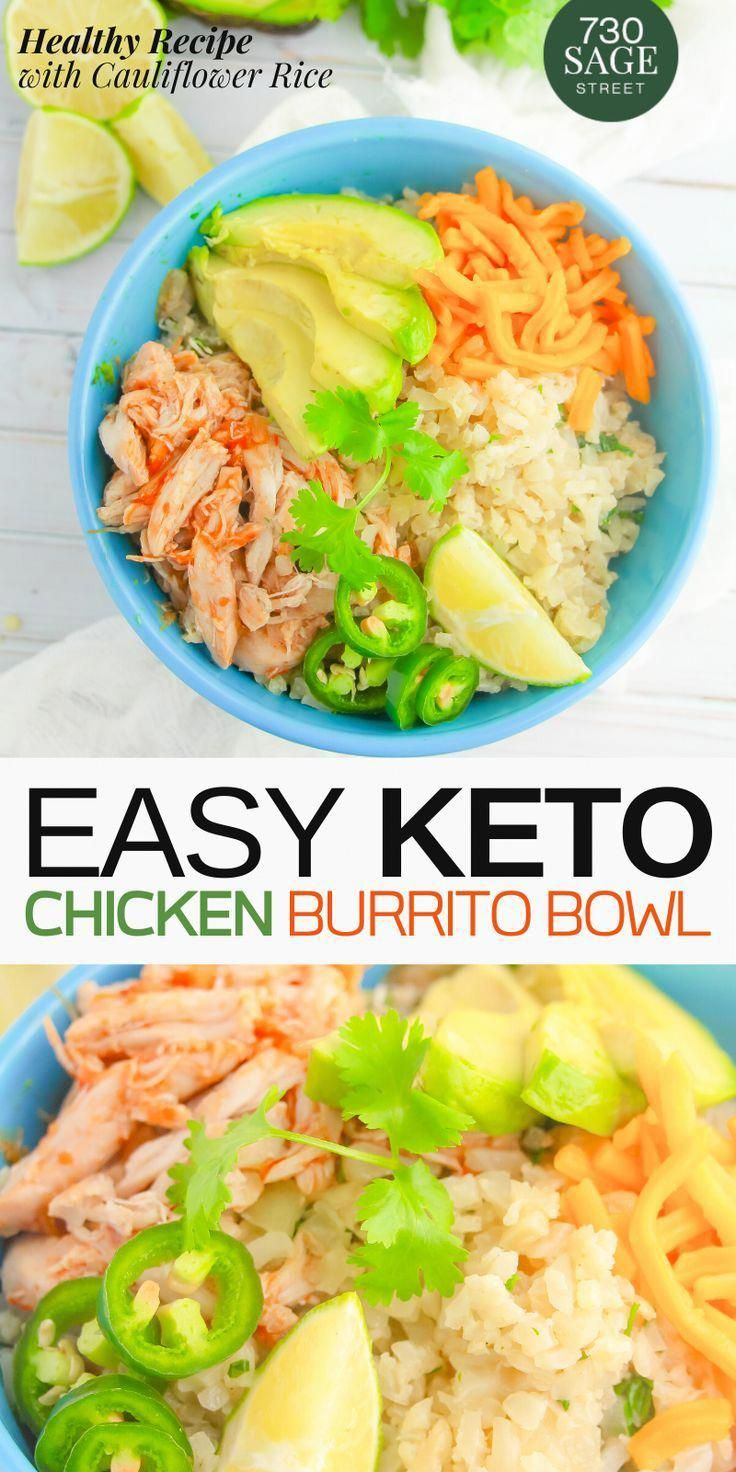 This keto & low carb chicken burrito bowl is super easy to make and it taste delicious! Enjoy a Mexican burrito without all of the carbs by putting it in a bowl! This is a versatile dish because everyone can customize it by choosing their own favorite toppings. #lowcarb #lowcarbrecipes #mexicanfood #foodie #chickenmeal #burritobowl #healthy #keto #ketosis #ketomeals #bowl #healthybowl #cauliflower #chicken #easyrecipe #recipe #onthetable #realfood #fit #di #LowCarbFoodsToEat
