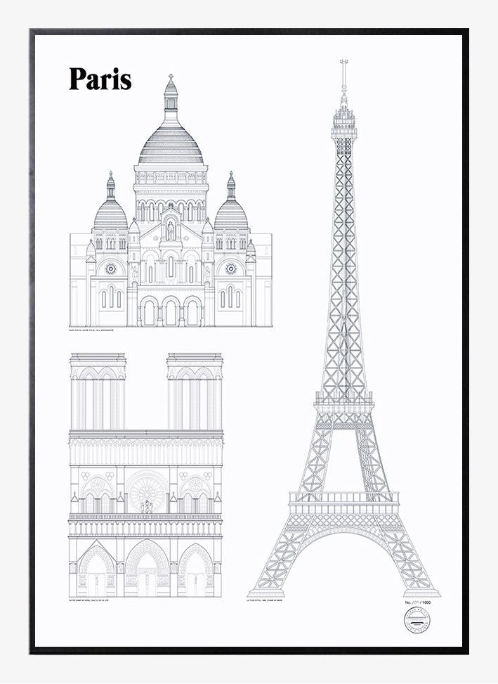 Paris Landmarks by Studio Esinam   Poster from theposterclub.com