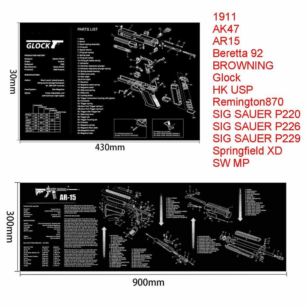 hight resolution of ar15 ak47 gun cleaning rubber mat with parts diagram and instructions armorers bench mat mouse pad for glock sig p226 p229