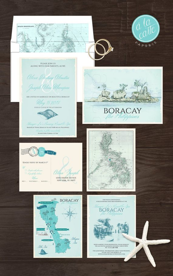 Boracay Island The Philippines Wedding By Alacartepaperie On Etsy Map Wedding Invitation