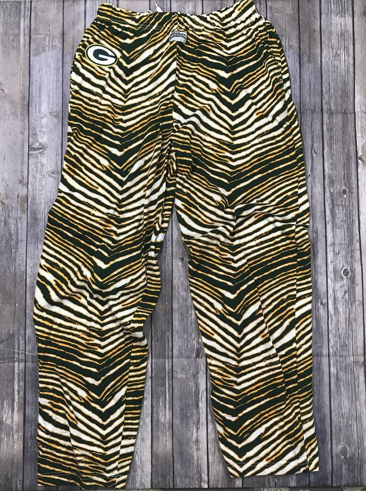 Vintage Green Bay Packers Zubaz Pants Xl Nfl Zebra Striped Baggy Pants Ebay Baggy Pant Striped Vintage Green
