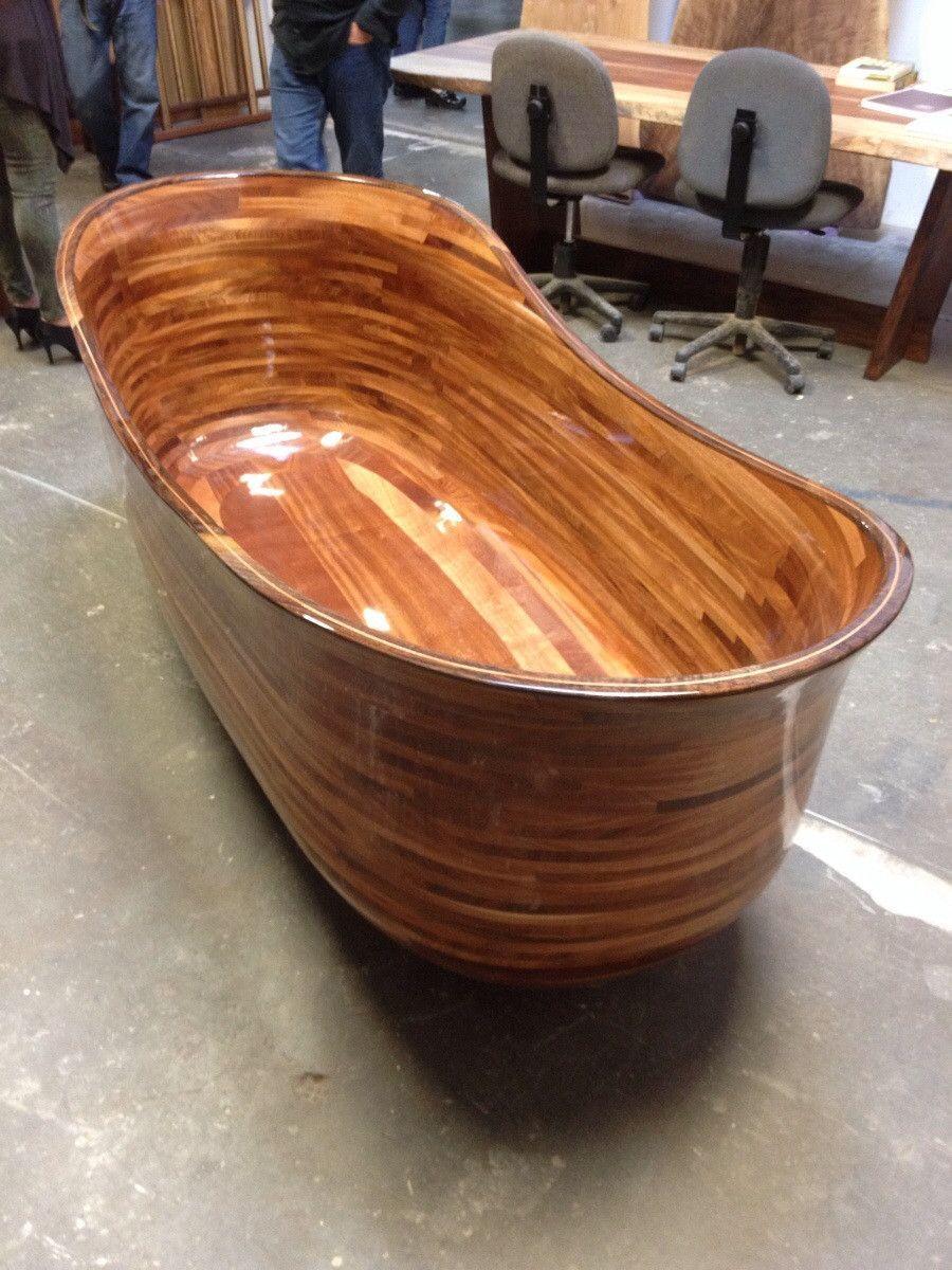 Wooden Bathtub In 2020 Wooden Bathtub Wood Tub Wooden Bathroom