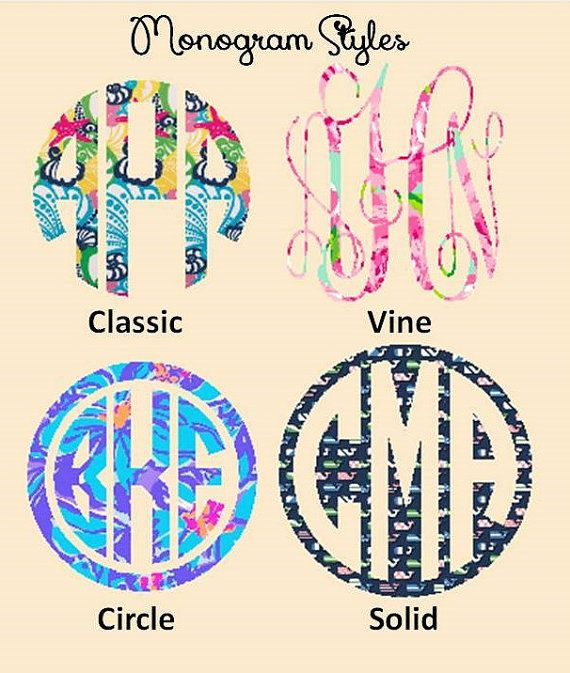"2"", 3"", 4"" and  5"" Lilly Pulitzer Print Vinyl Decals - You pick the pattern, Monogram Style and Size !  Waterproof, outdoor vinyl on Etsy, $5.50"
