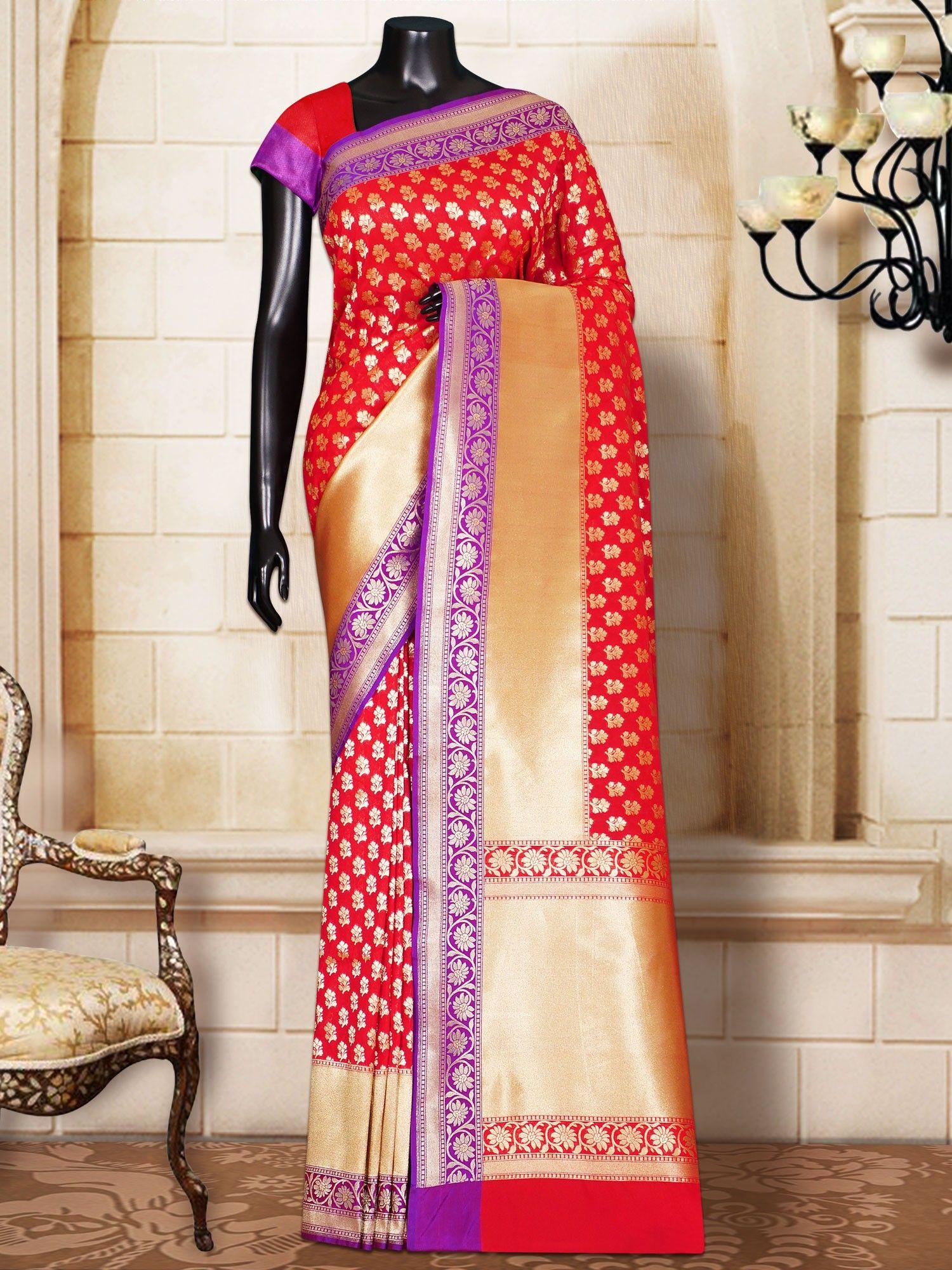 Maroon silk saree maroon silk patola self border u pallu banarasi handloom saree