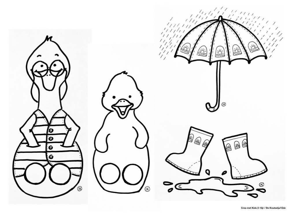 Vingerpoppetjes Knip En Kleurplaat Eendje In Regen Knutselen Kleurplaat Vingerpoppetjes De Knutseljuf Ede Regen Knutselen Thema Kleurplaten