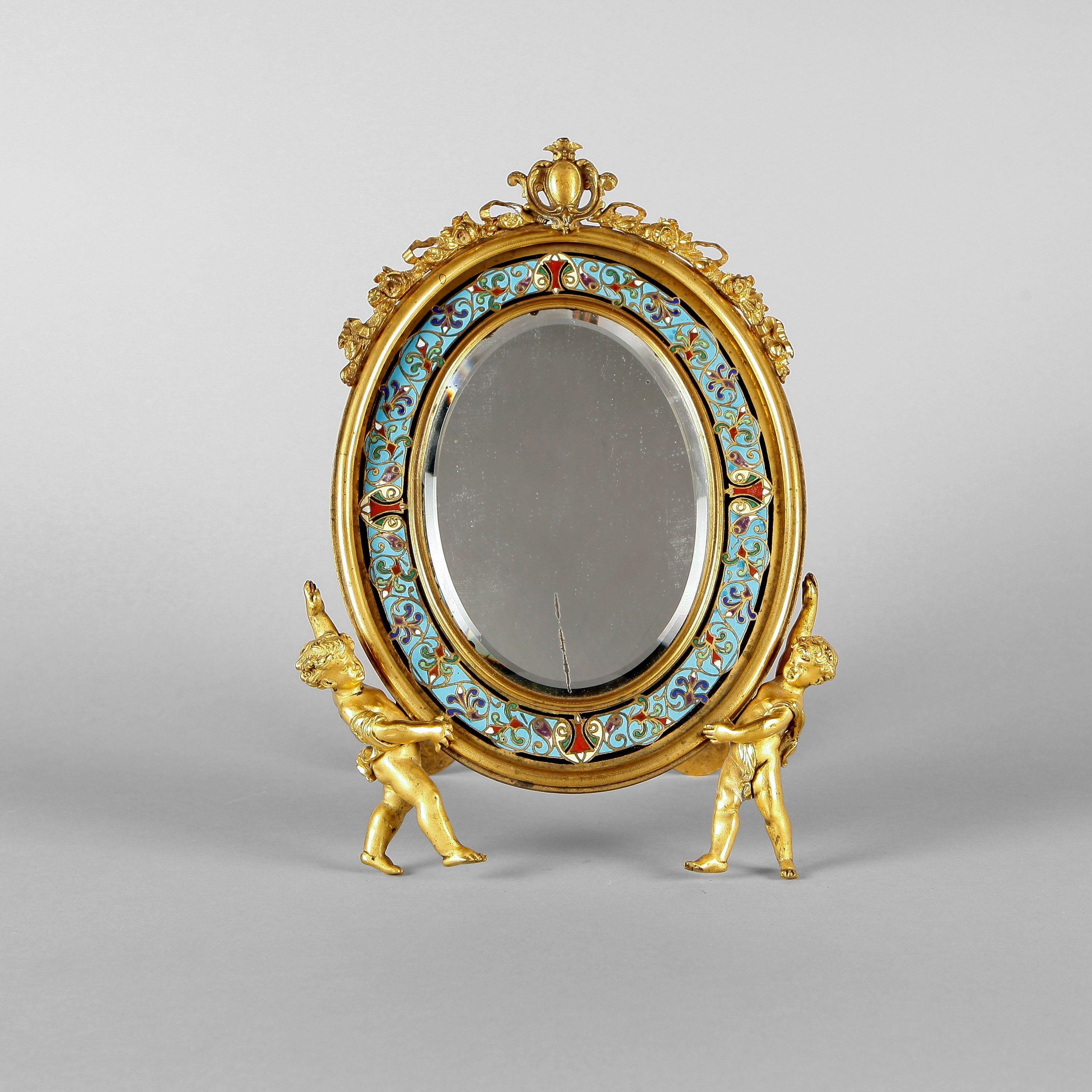 maison alphonse giroux paris miroir de table de forme ovale en bronze dor et maux cloisonn s. Black Bedroom Furniture Sets. Home Design Ideas