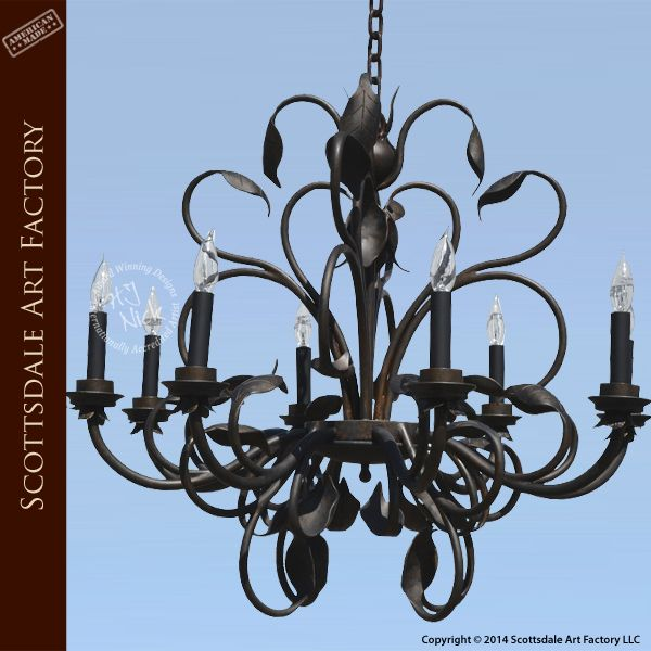 Custom Iron Vine Chandelier Fine Art Hand Forged Lighting