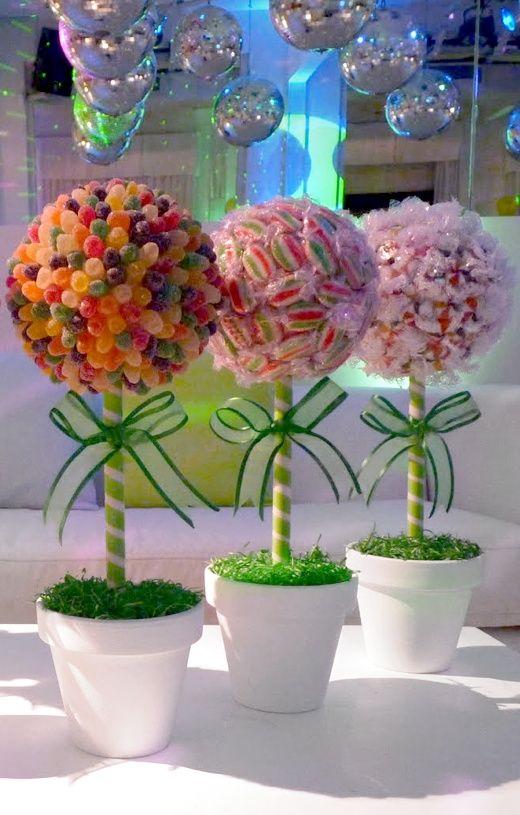 árboles Y Pinchos De Chuches Para Fiestas De Cumpleaños O Comuniones Centros De Mesa Con Dulces Dulceros Para Fiestas Partido Del Caramelo
