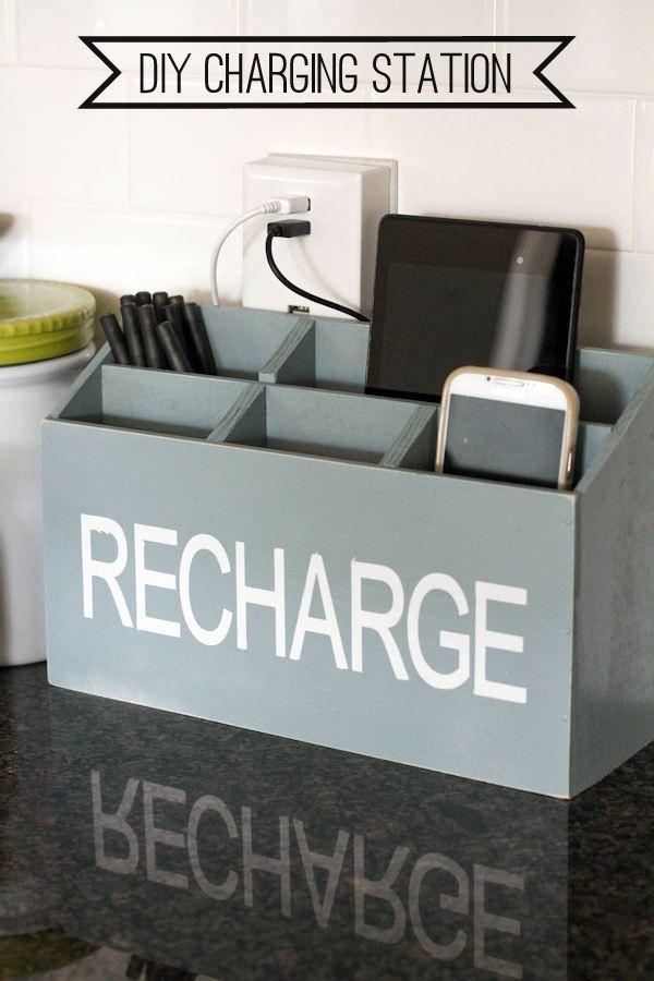 Diy Charging Station Charging Station Diy Diy Kitchen Projects Countertop Organization