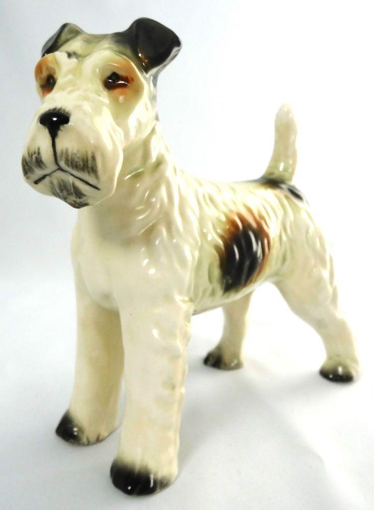 Vintage Fox Terrier Wire Haired Figurine Japan Porcelain Tri Colour ...
