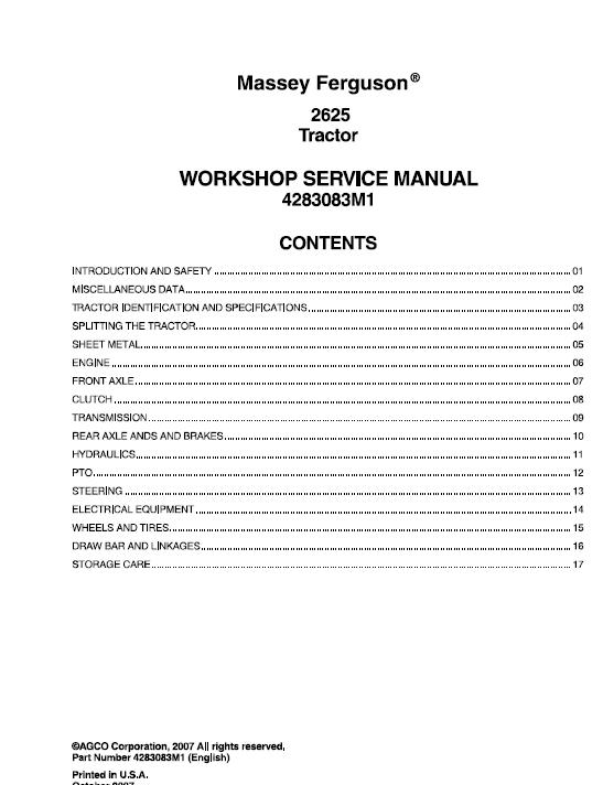 Massey Ferguson 2625 Tractors Service Workshop Manual Tractors Massey Ferguson Manual