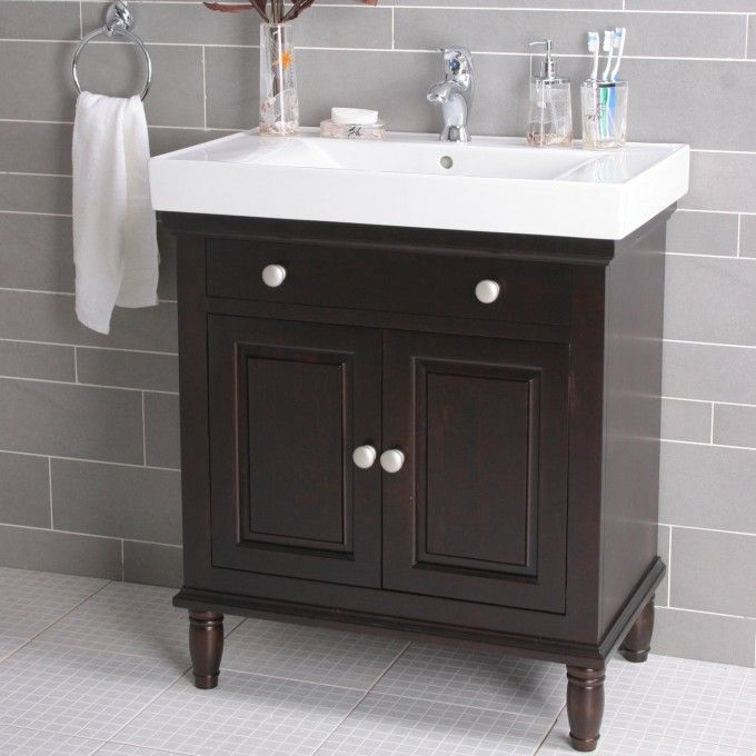 30 Boswell Contemporary Vanity Single Faucet Hole Dark Brown Bathroom Vanities Bathroom Bathroom Sink Vanity Small Bathroom