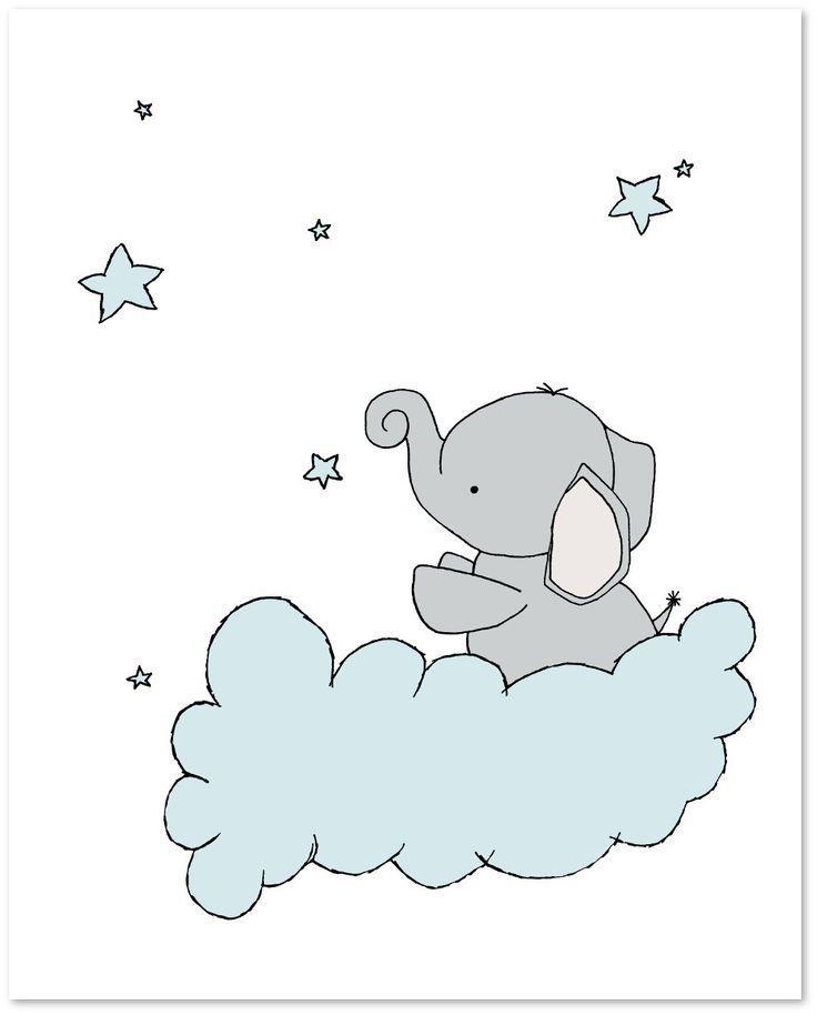 Elefant Kinderzimmer Kunst Set 3 Drucke Elefanten Mond