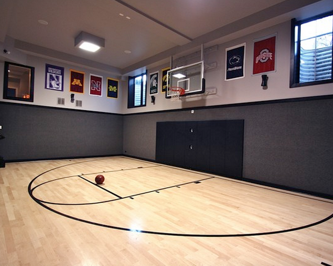 Representing The Big10 In This Indoorgym Sportcourt Homeinspiration Home Homedecor Home Basketball Court Home Gym Design Indoor Sports Court