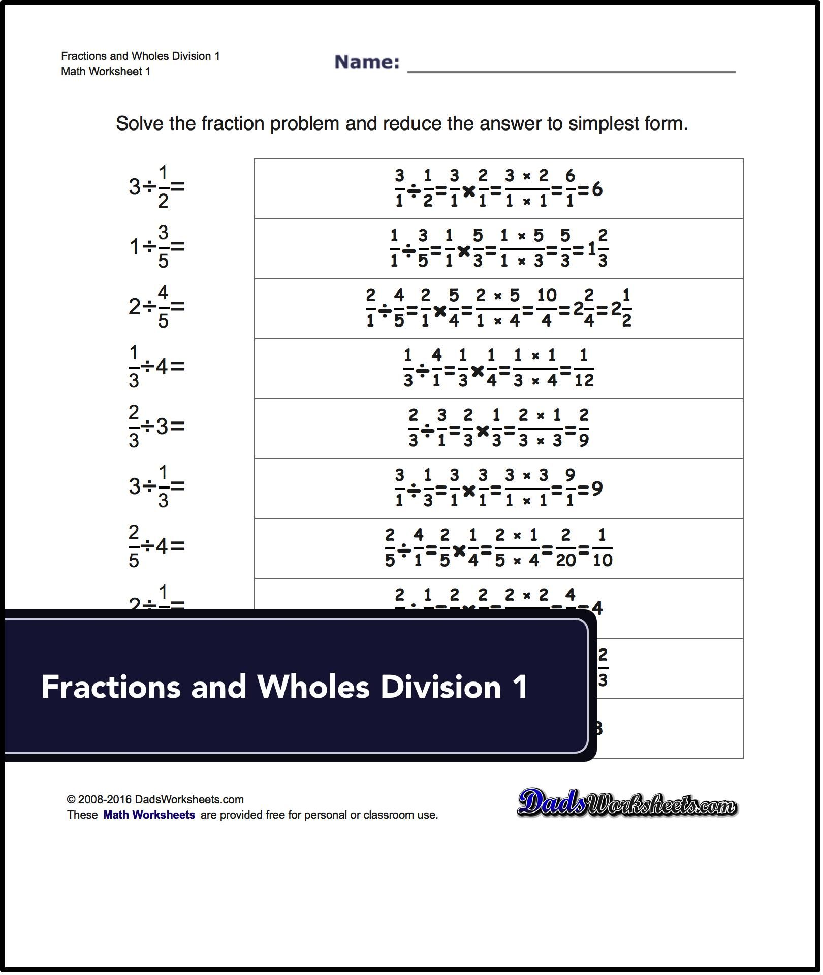 Basic Fraction Division Worksheets Including Dividing