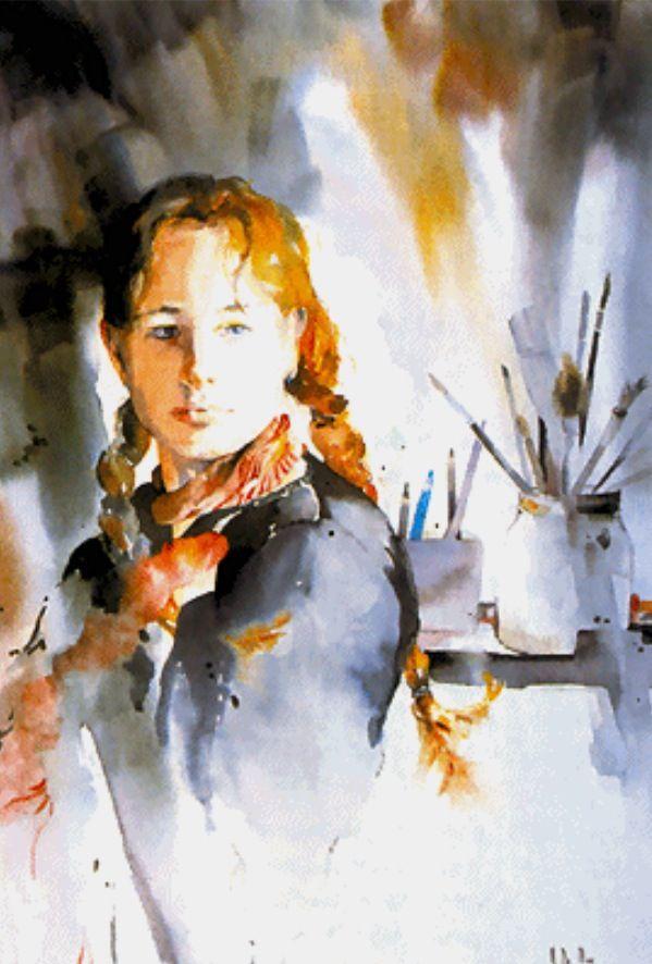 Aquarell Von Maryse De May Junge Frau Licht Portrait Art