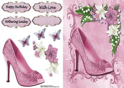 Lovely Dark Pink Shoe Flowers on Craftsuprint designed by Amy Perry - Lovely Dark Pink Shoe
