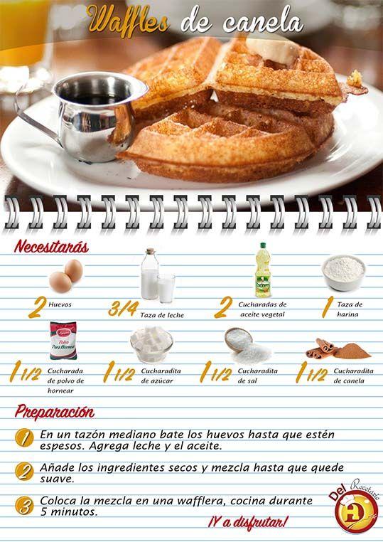 Waffles de Canela #DelRecetarioDoit #gofres #receta #desayuno #dulce