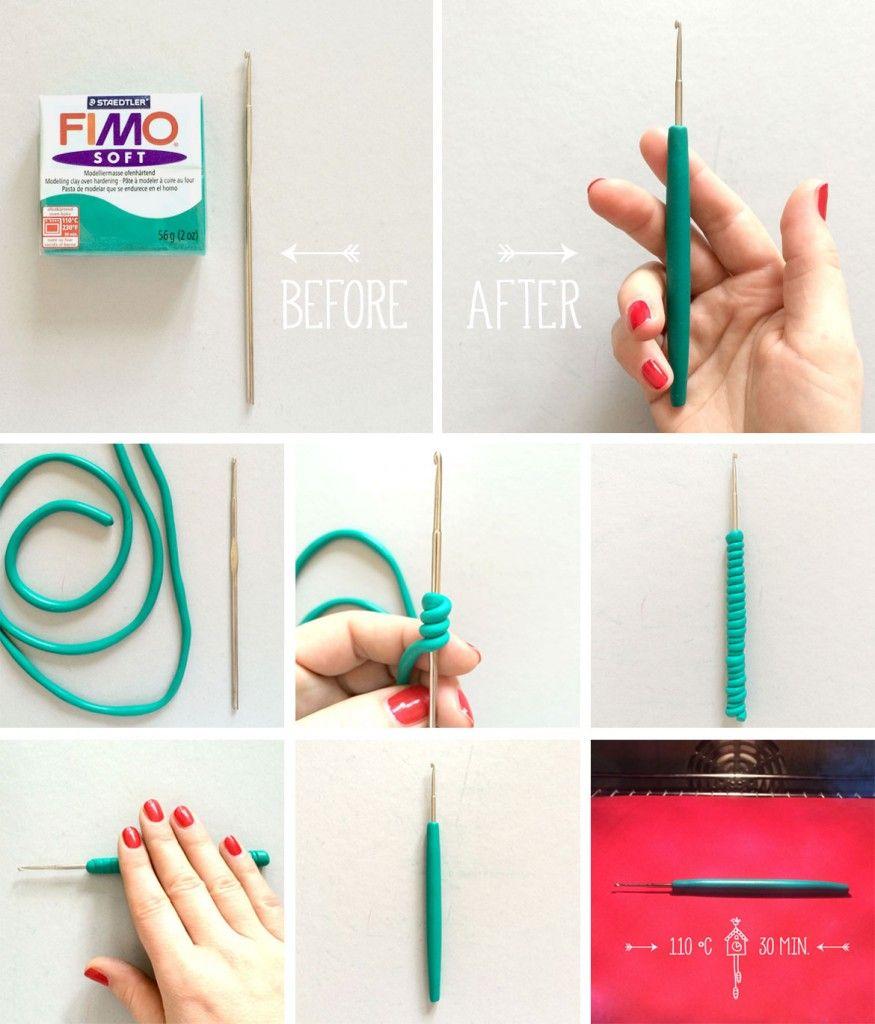 Idea ottima per trasformare l'impugnatura troppo fine dei nostri uncinetti #crochethooks