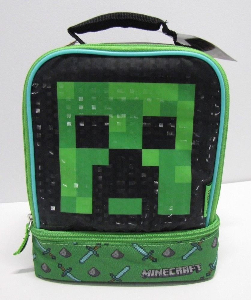 b0555dba77c7c2 Minecraft Creeper Lunch Bag Thermos Soft Insulated Dual Compartment Box NEW  #Thermos #LunchBag