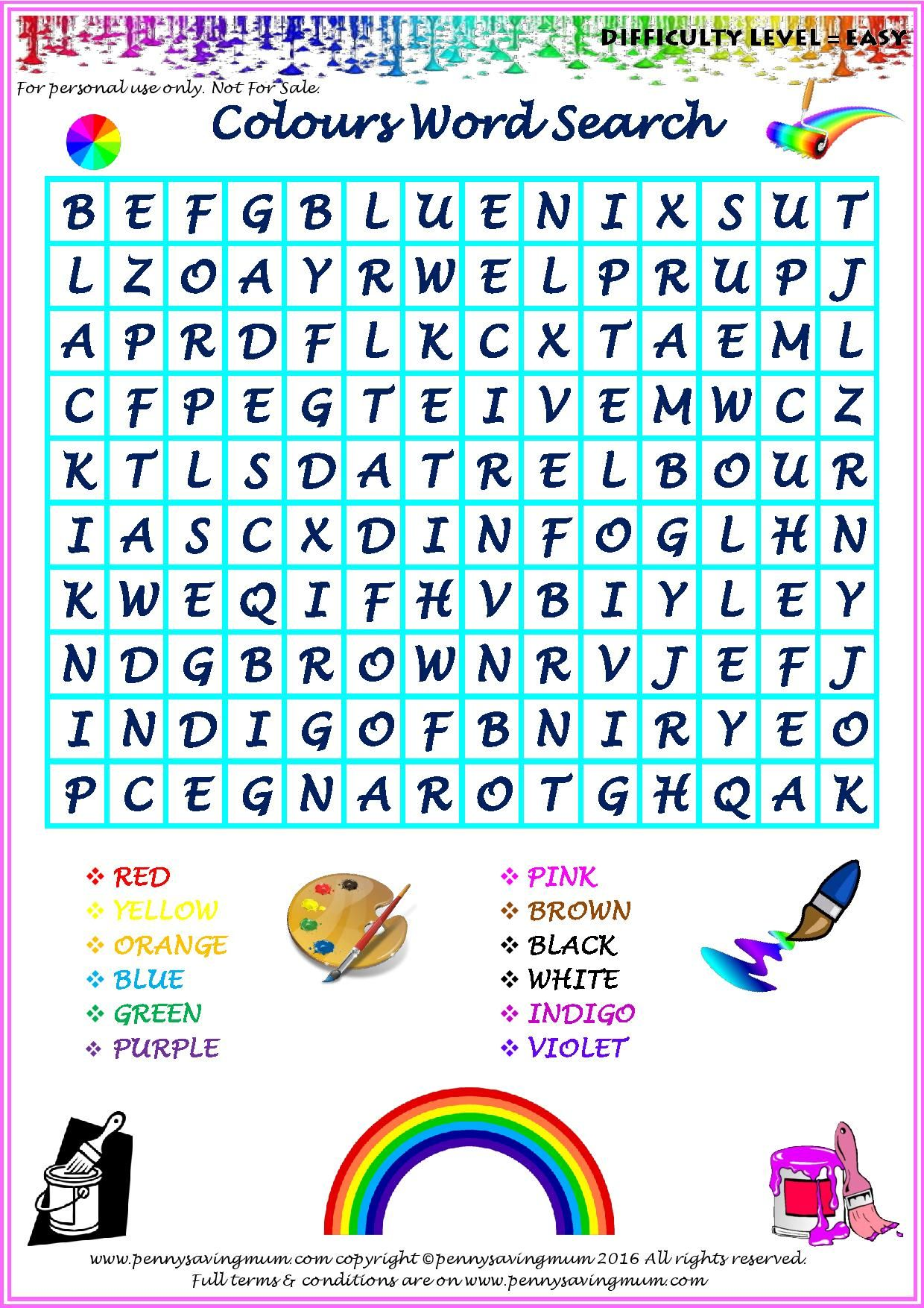 Word Search Colours (Easy Version) | Penny Saving Mum Word Searches ...
