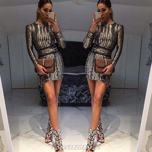 8321bc1787b1 Herve Leger Kim Kardashian Gold Long Sleeve Sequin Chain Stars Dress ...