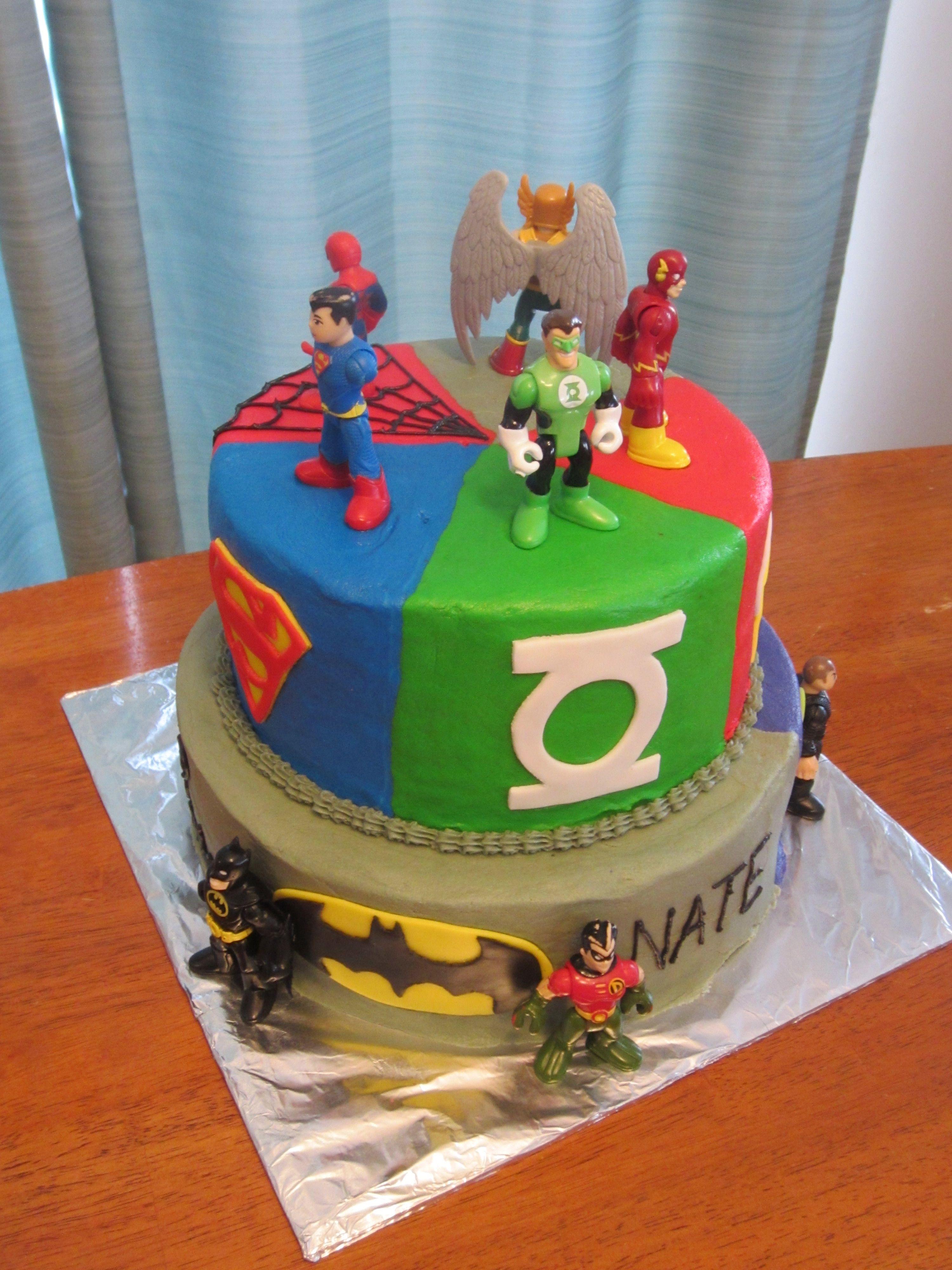 Groovy Superhero Cake Batman Superman Green Lantern Joker Hawkman Flash Funny Birthday Cards Online Amentibdeldamsfinfo