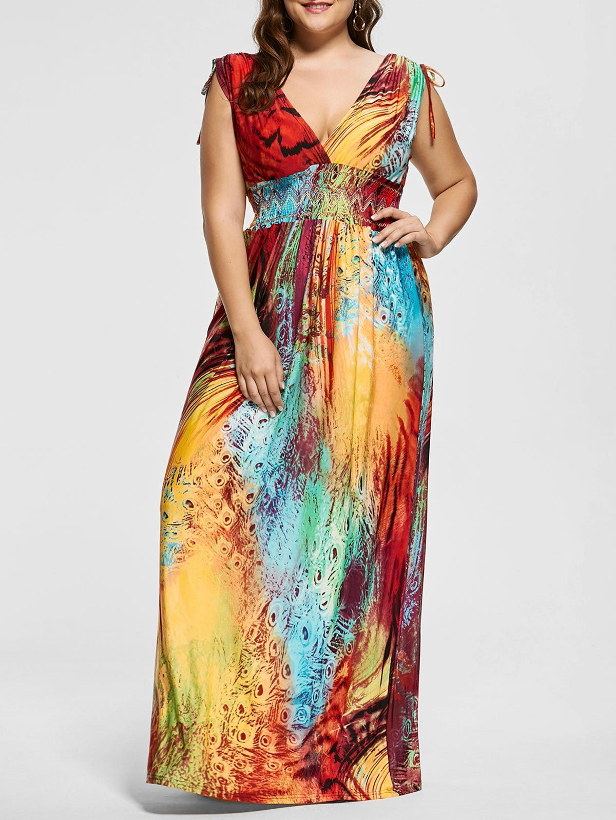 Plunging Neck Printed Floor Length Plus Size Dress Long Sleeve