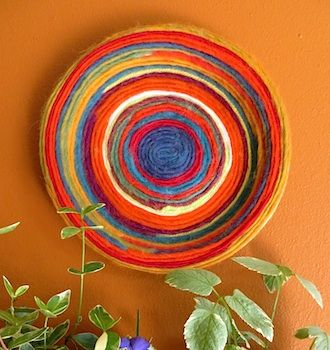 craft ideas yarn on yarn plate wall hanging craft things to make