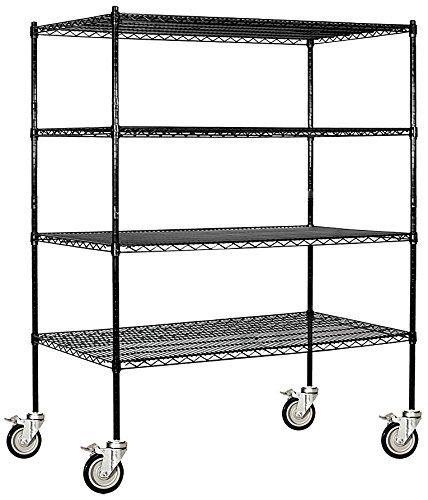 Salsbury Industries Mobile Wire Shelving Unit 60inch Wide By 69inch High By 24inch Deep Black Details Salsbury Industries Wire Shelving