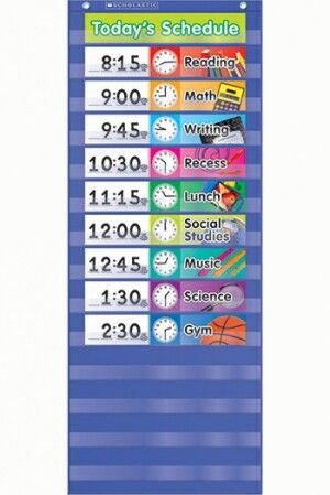 Daily schedule pocket chart gr k 5 full color photo cards include