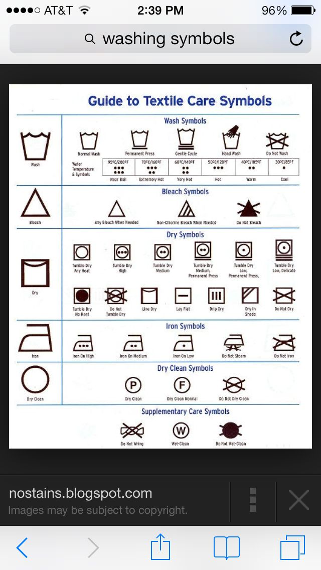 Clothing Care Symbols Washing And Drying Instructions Other