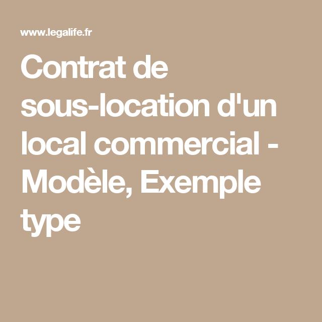 Contrat De Sous Location D Un Local Commercial Modele Exemple