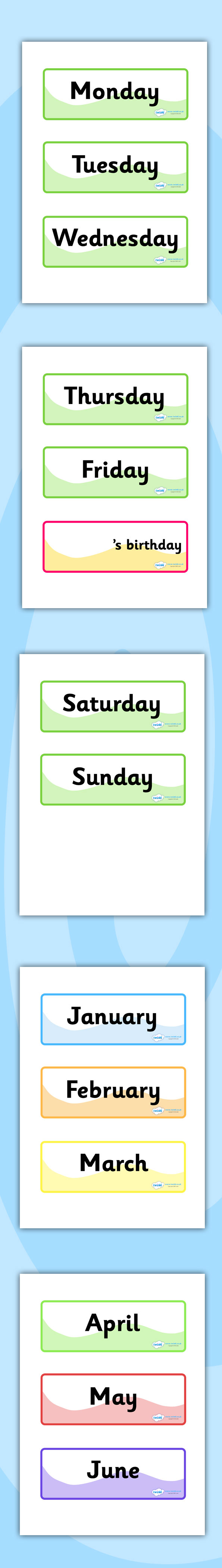 Calendar Ideas Twinkl : Twinkl resources gt days of the week months year